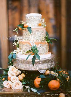 Gorgeous Kumquat-orange wedding cake featured in Pacific Weddings Magazine. #weddingcake