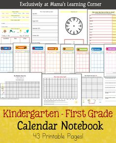 printable download that includes monthly calendar, date/day/month/year recognition, weather charting, bar graphs from weather data, telling time, tally marks, and more to use {print it}