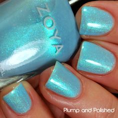 """Zoya """"Rayne""""  So much going on in this bottle! A true cosmic blue..."""
