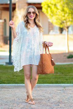 465f7f2c97ed6 Glamour-Zine wearing Vanilla Beach Crotchet Cover Up Dress