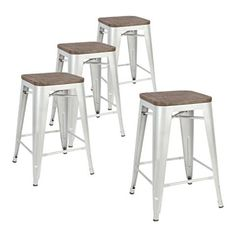 LCH 24 Inch Metal Industrial Patio Bar Stools, Set of 4 Indoor/Outdoor Counter Stackable Barstool with Wood Seat, 500 LB Limit, Silver