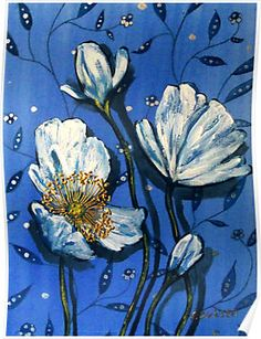 White Poppies on Blue by Cherie Roe Dirksen --- POSTERS starting at $23.98   #poppy #poster #print #floralprint #flowerposter