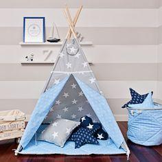 Tipi tente avec matelas de sol, fenêtre, coussin / Tissu étoile / Tissu ancre / Camaïeu bleu