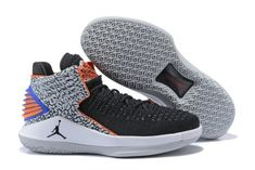 0f4555e747a 2018 Genuine Nike Air Jordan 32 Black Elephant Print Blue Orange Basketball  Shoe For Sale