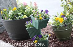 flower tower made from stacked flowerpots, container gardening, crafts, flowers, gardening