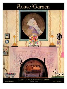 House & Garden Cover - September 1918    Autumn Decorating Number: House and Garden logo in white on black band above tempera illustration of a painting of an 18th century male ancestor above a Victorian mantlepiece in violet; above the lower black band a copper kettle sits beside a coal fire in a raised grate.