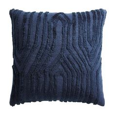 Mixing different textures and patterns can be fun, and with a metallic and acrylic embroidered chevron design, our throw pillow plays well with others. The only limit? Your imagination! Navy Blue Throw Pillows, Boho Throw Pillows, Accent Pillows, Pillow Texture, Blue Accents, Pillow Design, Chair Design, Furniture Design, Decorative Pillows