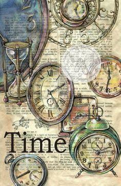 Old Clocks drawn on distressed, dictionary page - prints available for purchase at www.etsy.com/... - flying shoes art studio