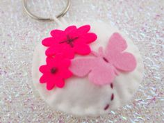 Floral Keyring Butterfly Keychain Felt by CharliesPartiesUK
