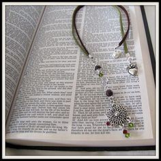 Book Marker  Beaded Suede Cord Beaded 15 inch by CordShoppeandMore, $10.00