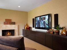 Love this low profile, transitional style living room wall unit. Lots of storage and style!