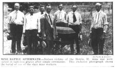 The Herrin Massacre, as it is widely known, occurred in the aftermath of a bloody war between union and non-union miners at the Southern Illinois Coal Co. strip mine in 1922.  About two dozen strikebreakers and guards were killed during the march from Crenshaw Crossing, where the William J. Lester strip pit was located between Marion and Herrin.  Although a grand jury returned 214 indictments, including murder, no one was ever convicted for the killings.