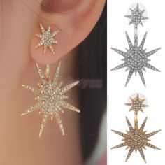 1pcs Women Crystal Rhinestone Dangle Gold/Silver Star Ear Stud Earring Jewelry…