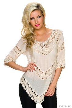 Bluza Asymmetry Cream. Bluza cu croi asimetric, insertii tricotate, ideala pentru o iesire lejera sau un look modern pe terasa, la mare.