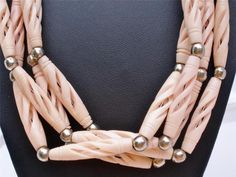 "Vintage Carved Pink Bead Necklace Lucite Silver Multi Strand Estate 27"" Long | eBay"
