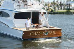 #TRANSOM: Chasin Tail, Ft Pierce #Boat #Transom #BoatTransom  TRANSOM #TECHNIQUE: #GoldLeaf #CustomGraphics    #BOAT #BUILDER #BoatBuilder: #BaylissBoatworks, #NorthCarolina