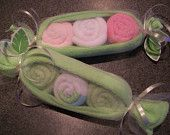 Pea Pod! Great idea for baby showers: 1 Green Washcloth 3 gender specfic washloths wrapped in tulle, tied with cute ribbon!