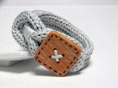 GREY PEARL knitted cotton yarn bracelet - Noemi - Ready to ship. €18,00, via Etsy.