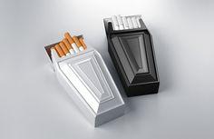 レイノルズ&レイナー(Reynolds & Reyner)による「禁煙箱」。ウクライナのアーティストデュオ。喫煙が健康を害し、死亡率を上げることを視覚的にあらわすため、棺桶の形をしたタバコケースを制作しました。喫煙者は自らのポケットの中に死をもっていることを覚悟します。