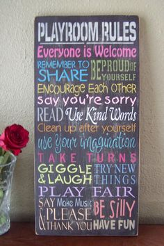 Playroom Rules Sign, Hand Stenciled Painted Wood Sign, Child Sign, Playroom Sign, Typography, Subway Art on Etsy, $49.95