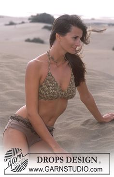 DROPS Crochet bikini top in Paris and bikini bottoms in Safran. ~ DROPS Design. Free pattern.