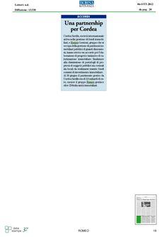 Nuova partnership per la Romeo Gestione, infatti accordo trovato con la società Cordea