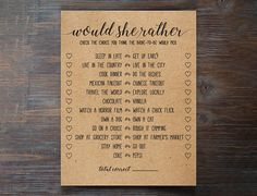 Would She Rather Bridal Shower Game Do this activity/game with your family and friends at your bridal/wedding shower by having them check the choice they think the bride-to-be would pick. ~ HOW TO DOWNLOAD YOUR FILE ~ Your files will be available immediately after your purchase.