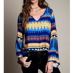 """LOWEST """"Northern Lights"""" Printed Long Sleeve Top Printed bell-sleeved top. The perfect array of colors! Brighten up your day with this gorgeous top! Brand new without tags. Lowest price. NO TRADES. Bare Anthology Tops"""