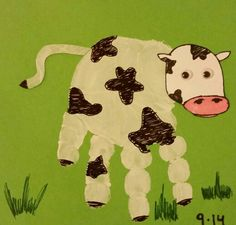 Myiah's hand cow :) #handprint #cow #art #toddler