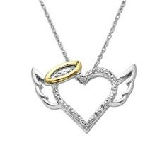 """Sterling Silver and 14k Yellow Gold Diamond Winged Halo Heart Pendant (.04cttw, I-J Color, I2-I3 Clarity), 18"""""""
