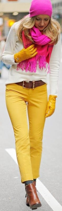 White And Yellow Outfit With Pink Scarve And Beanie