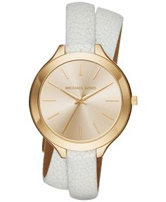 Michael Kors Women's Slim Runway White Leather Double-Wrap Strap Watch 42mm MK2477 This goes with almost everything! My favorite purchase of the year!