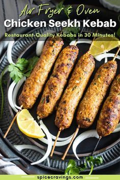 Chicken Seekh Kebab! These delicious Indian ground meat patties are seasoned with Indian spices and aromatics, then grilled in an air fryer or oven. Yummy Chicken Recipes, Yum Yum Chicken, Meat Recipes, Indian Food Recipes, Snacks Recipes, Cooking Recipes, Make Ahead Appetizers, Yummy Appetizers, Yummy Snacks