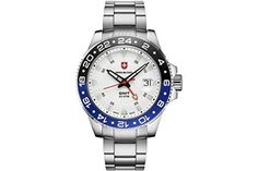 Swiss Military GMT, Swiss Made Ronda cal. 515.24 2nd timezone, 1 jewel, silver dial, stainless…