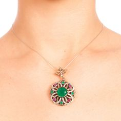 The Zerbap Clara Pendant  with Zircon Ruby Emerald  by Rosestyle, $49.00