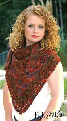 Please Favorite or Queue in Ravelry! When I finished the Pumpkin Spice beanie I thought there was only one skein of the Malabrigo yarn left but actually had two!  It was just enough to make this shawl!  On this project you can see a hint of blues and even... #accessories #crochet #crochetshawl