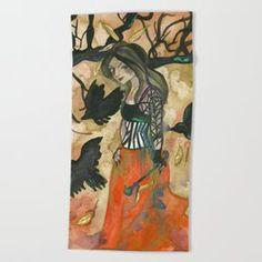 Raven Witch - Grimm Autumn Beach Towel