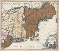 Nova Anglia Septentrionali Americae Implantata Anglorumque Coloniis Florentissima Geographice Exhibita a Joh. New England & New York, 1716 map Old Maps, Antique Maps, Map Of New York, Cartography, New England, Vintage World Maps, Coastal, Native Americans, History