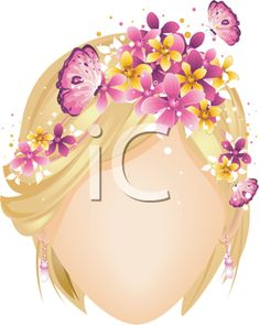 iCLIPART - Royalty Free Clipart Image of a Faceless Girl With Flowers and Butterflies in Her Hair