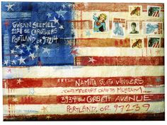 ♥ ✉ Gwenn Seemel's hand painted canvas envelope. ✉ Snail mail art at its best.