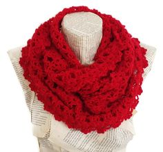 Red infinity Scarf Antibacterial Yarn Gifts idea by HeraScarf