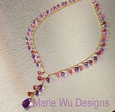 Gem Pink Tourmaline~Amethyst~Solid 14k Charm Y Necklace~ from mwudesigns on Ruby Lane