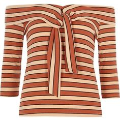 River Island Orange stripe rib tie front bardot top (2.535 RUB) ❤ liked on Polyvore featuring tops, bardot / cold shoulder tops, orange, women, stripe top, orange top, cutout shoulder tops, ribbed long sleeve top and cut out shoulder top