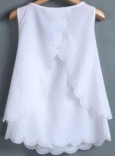 White sleeveless back split chiffon vest sheinside com Baby Frocks Designs, Kids Frocks Design, Frock Design, Woman Outfits, Kids Outfits, Fashion Clothes, Fashion Dresses, Kids Dress Patterns, Baby Girl Dresses