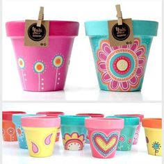 Idea Of Making Plant Pots At Home // Flower Pots From Cement Marbles // Home Decoration Ideas – Top Soop Paint Garden Pots, Painted Plant Pots, Painted Flower Pots, Garden Art, Flower Pot Art, Flower Pot Crafts, Clay Pot Crafts, Pots D'argile, Clay Pots