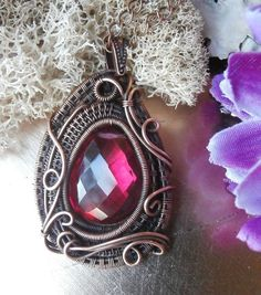 Wire Wrapped Pendant Necklace, AAA Pomegranate Pink Quartz, Heart Briolette, Handmade Wire Wrapped  Jewelry