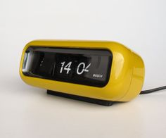 Vintage Flip Clock Alarm Clock / Bosch UDW2 / Retro Orange Yellow Table Clock / 70's Germany