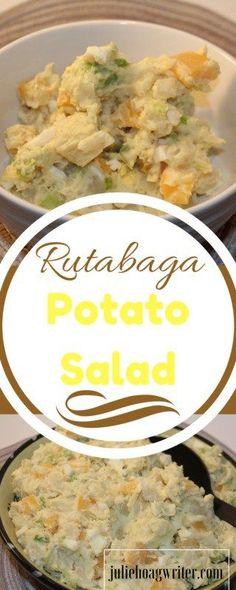 Rutabaga Potato Salad is a delicious twist on a classic side salad. Potato salad | potato salad recipe | potato salad egg | potato salad easy | salads | cold salads | cold salad recipes | vegetarian potato salad | rutabaga recipes | salad recipe | vegetar
