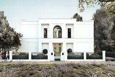 Neubau einer Villa im Klassik-Stil mit Mittelrisalit in Potsdam - Zum Straßenraum besitzt ist die Fassade der Villa einen symmetrischen ruhigen Ausdruck.