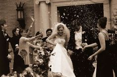 Rice is the most common way to send off a new couple. If you want to stick with tradition, this is the most prevalent tradition and it truly does never get old.